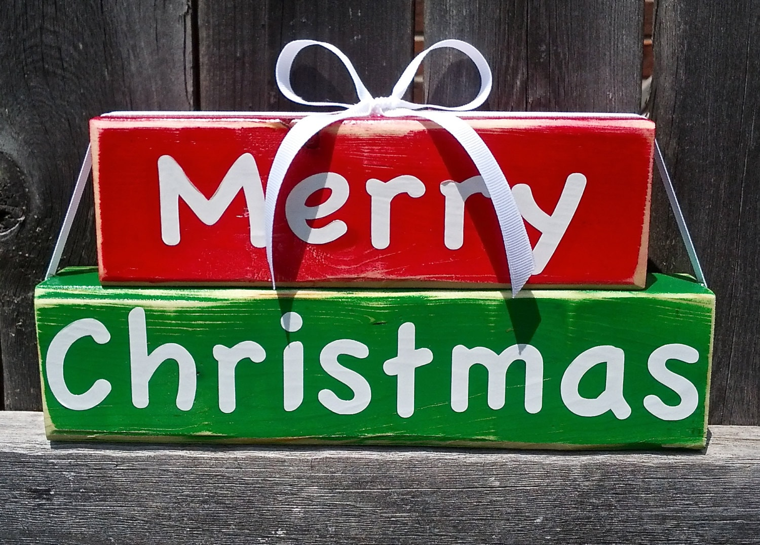Merry Christmas Fun And Cute Wood Block Decor Sign Red