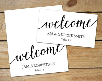 Editable Place Card Templates // DIY Wedding Place Cards // Black and White Wedding Name Cards // Instant Download