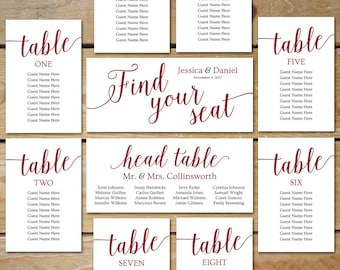 Burgundy Seating Chart Wedding Templates // Editable Seating Chart Cards Printable // Burgundy Wedding DOWNLOAD, Fall Wedding Decor