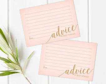 Wedding Advice Cards and Sign // Printable Wedding Shower Signs // Blush Pink Wedding Advice Sign // Instant Download