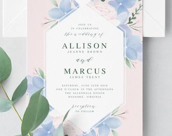 Hydrangea Wedding Invitation Suite // Pink, Dusty Blue Wedding Invitations Printable // Watercolor Hydrangea Invitations, Wedding Invites