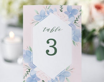 Hydrangea Table Numbers Printable // Printable Table Numbers Floral, Pink and Dusty Blue Wedding Printables // Table Setting Ideas Wedding
