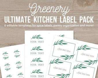 Ultimate Greenery Kitchen Labels Pack, Spice Jar Labels, Botanical Kitchen Decor, Pantry Labels, Organization Printables, Greenery Templates