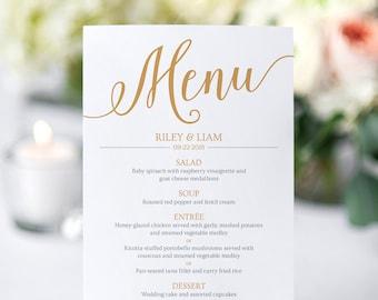 Gold Wedding Menu Cards Templates / Printable Menu Cards for Wedding Instant Download / Editable Wedding Menu Gold