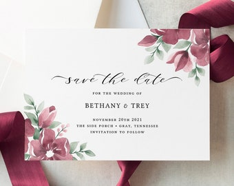 Burgundy Save the Date Template, Floral Save the Dates, Burgundy Blush Wedding, Printable, Download