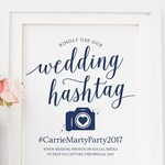 Navy Wedding Hashtag Sign Printable / Editable Hashtag Printable Sign / Hashtag Wedding Signs Navy / Hashtag Sign Instant Download