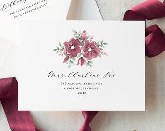 Burgundy Wedding Envelope Template, Calligraphy Envelope Addressing Template, Printable, Floral