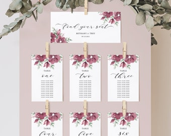 Burgundy Wedding Seating Chart Cards, Seating Chart Template, Burgundy and Blush, Editable, DIY