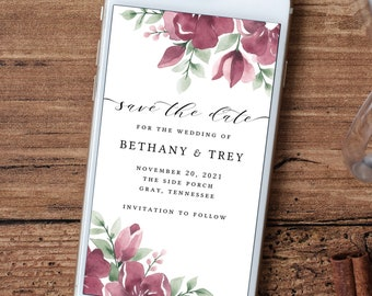 Electronic Save the Date Template, Burgundy Wedding Invitation, Digital, Floral, Download, Editable