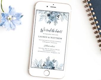 Digital Elopement Announcement, Digital Wedding Invitation Template, Dusty Blue, Electronic Invitation