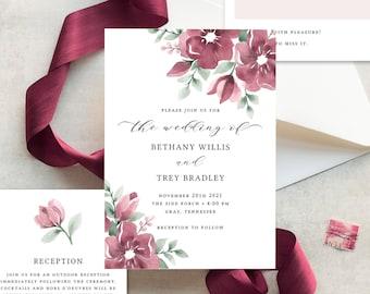 Burgundy Wedding Invitation Template, Floral Wedding Invitations, Burgundy Blush, Fall Wedding Invites