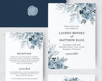 Dusty Blue Wedding Invitations Diy, Floral Wedding Invitation Template, Navy, Watercolor, Instant Download