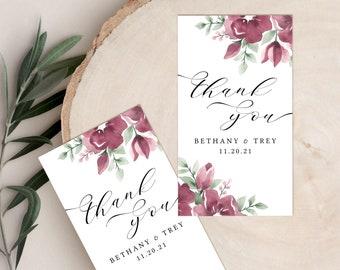 Favor Tags Bridal Shower, Burgundy Wedding Favor Tag Template, Blush, Floral, Printable, Fall Wedding Decor