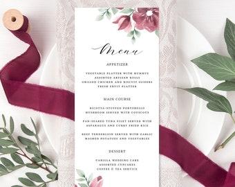 Floral Menu Cards for Wedding, Burgundy Wedding Menu Template, Instant Download, Blush