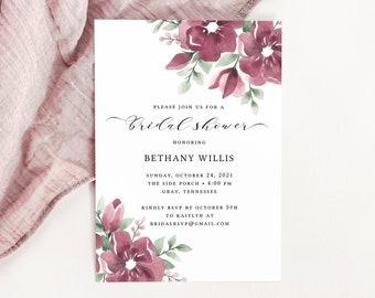 Burgundy Bridal Shower Invitation Template, Fall Wedding Shower, Floral Bridal Shower Invites, Instant Download