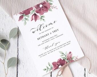 Burgundy Wedding Program Fan Template, Ceremony Programs, Blush, Floral, Editable
