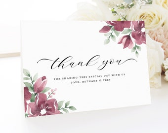 Thank You Card Template, Burgundy Wedding Thank You Cards, Baby Shower, Bridal Shower, Floral