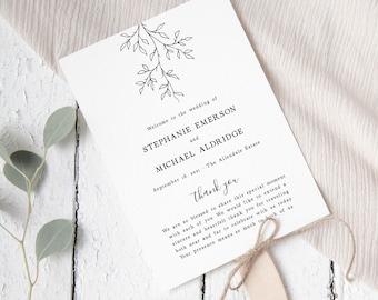 Rustic Wedding Program Fan Template, Ceremony Program Template, Editable Program Fans