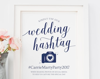 Navy Wedding Hashtag Sign Printable // Editable Hashtag Printable Sign // Hashtag Wedding Signs Navy // Hashtag Sign Instant Download