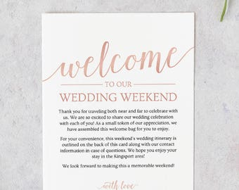 Rose Gold Wedding Itinerary Template // Wedding Welcome Letter Template // Rose Gold Wedding Welcome Bag Note