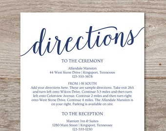 Directions Card Wedding // Wedding Directions Template // Navy Wedding Template // Navy Direction Cards for Wedding