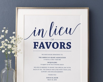 In Lieu of Favors Sign, Navy Wedding Signs Printable Donation Sign, In Lieu of Favors Template Wedding Signage Instant Download
