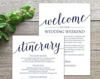 Wedding Itinerary Navy Welcome Letter Template Printable Bag Note DOWNLOAD