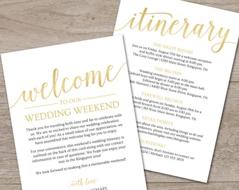 gold welcome letter template gold welcome bag note printable wedding itinerary template wedding itinerary instant download