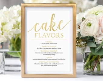 Cake Flavors Sign, Menu Template Gold // Gold Wedding Signs, Cake Table Sign // Dessert Table Decor Ideas