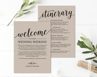 Wedding Itinerary Template Printable Welcome Letter Bag Note For