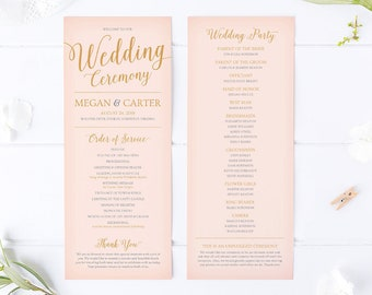 Pink wedding program etsy pink wedding program template wedding programs printable wedding program ideas for pink and gold wedding template maxwellsz
