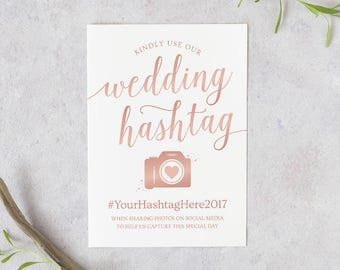 Rose Gold Wedding Hashtag Sign // Rose Gold Hashtag Sign Editable // Rose Gold Wedding Signs // Hashtag Wedding Printable