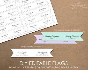 editable toothpick flag template favor flags drink straw etsy
