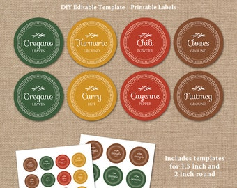 Editable Spice Labels Printable Diy Printable Kitchen Etsy