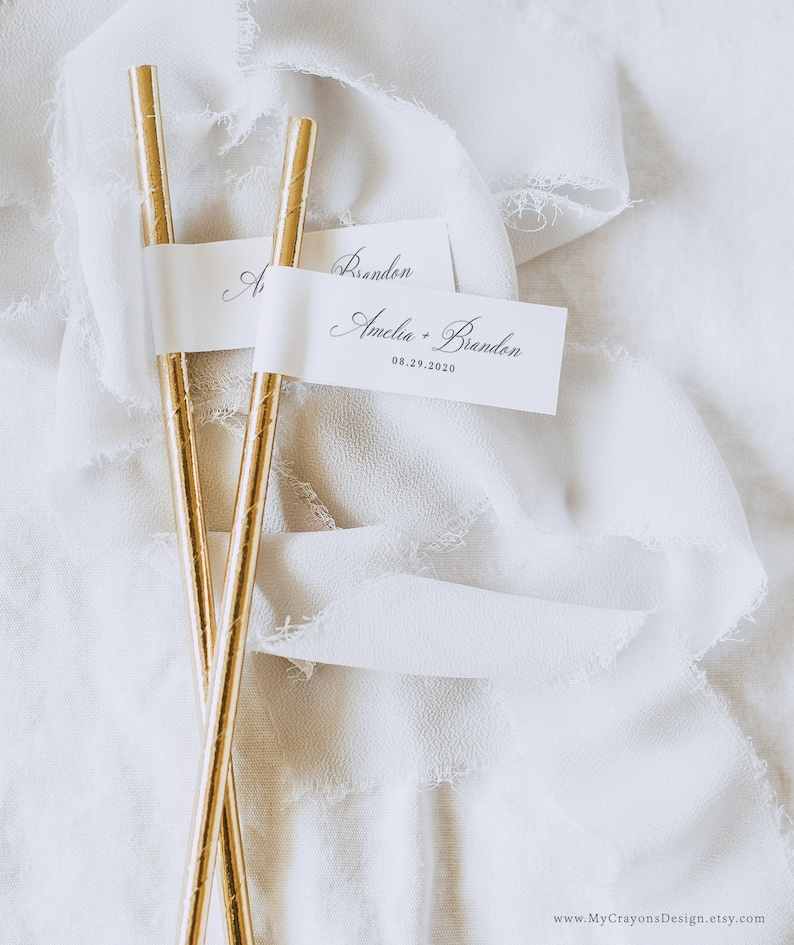Straw Tag Wedding Template Toothpick Flags Bridal Shower image 0