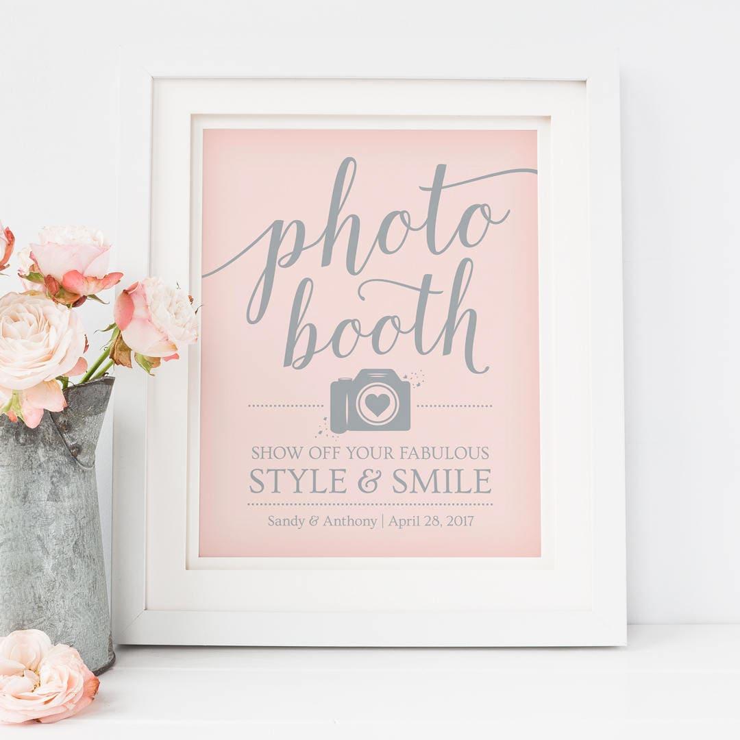 printable photo booth sign template pink wedding. Black Bedroom Furniture Sets. Home Design Ideas