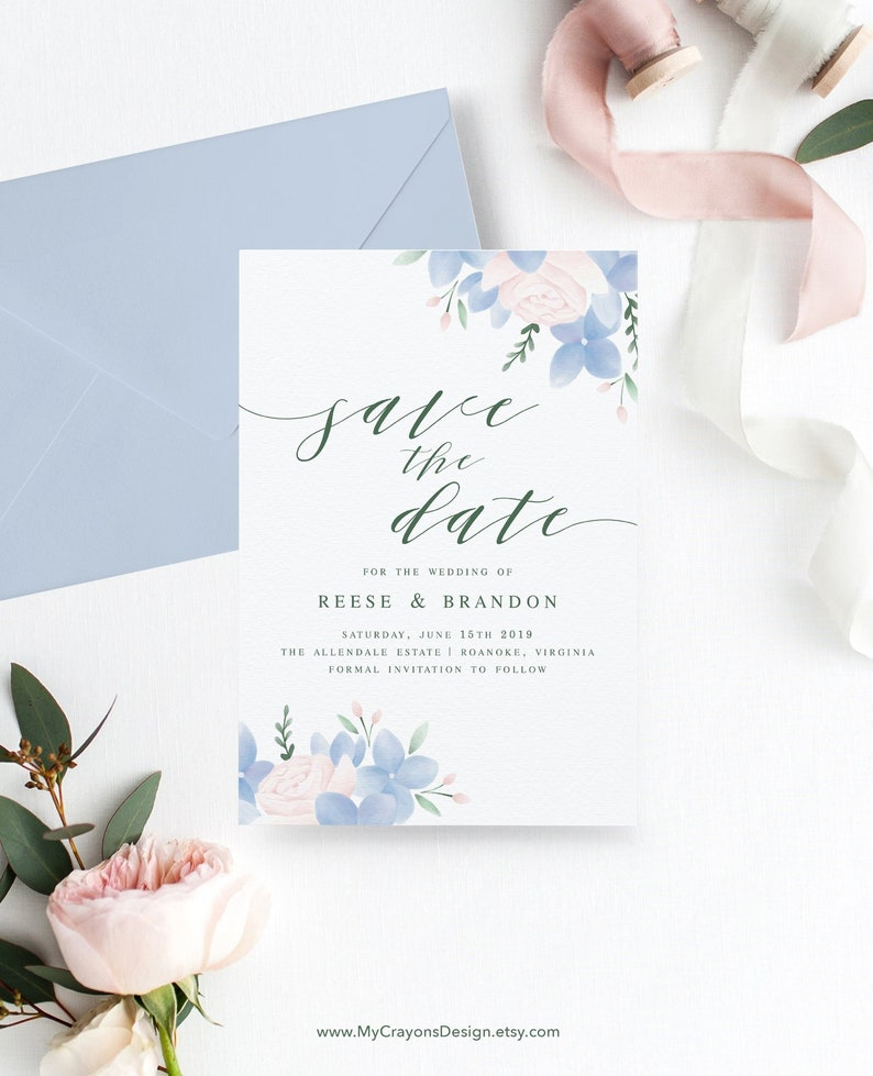 Floral Wedding Save the Dates Template / Dusty Blue Wedding image 0