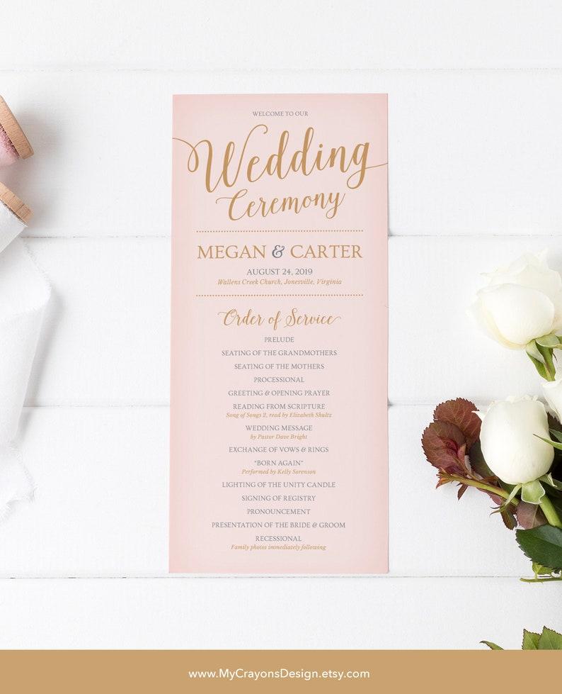 Wedding Program Template Printable Wedding Programs Blush | Etsy