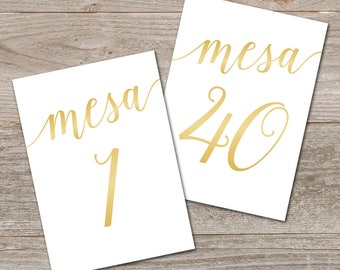 Números de Mesa 1-40, Boda de Oro // Printable Table Numbers Spanish // 5x7, 4x6 Gold Table Numbers Wedding