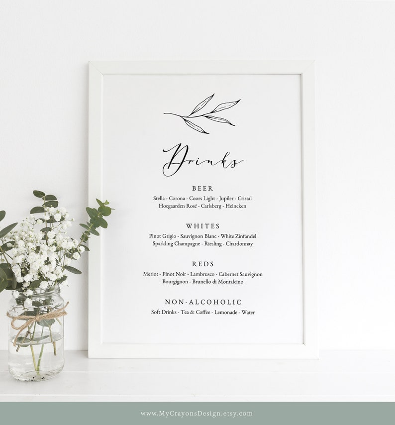 Bar Menu Wedding Sign Printable Botanical Drinks Menu Bar image 0