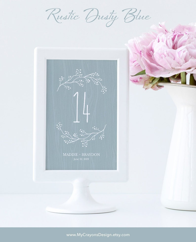Dusty Blue Table Number Template / Rustic Wedding Table image 0