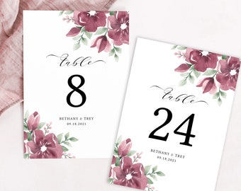 Burgundy Table Numbers Wedding Template, Fall Wedding Decor, Printable Table Number Cards