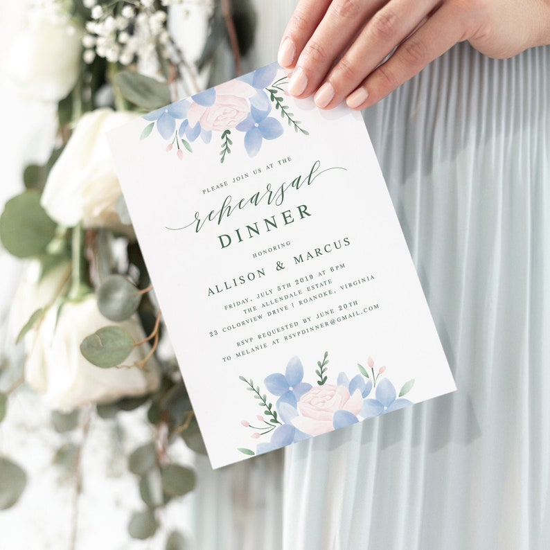 Rehearsal Dinner Invitation Template / Hydrangea Wedding image 0