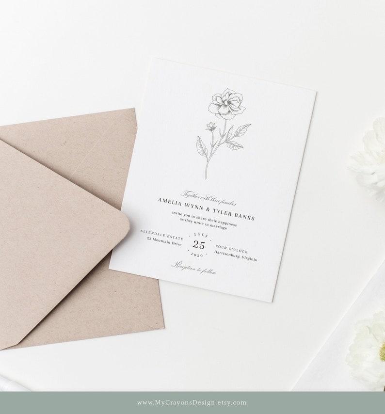 Elegant Wedding Invitations Minimalist Wedding Invitation image 0