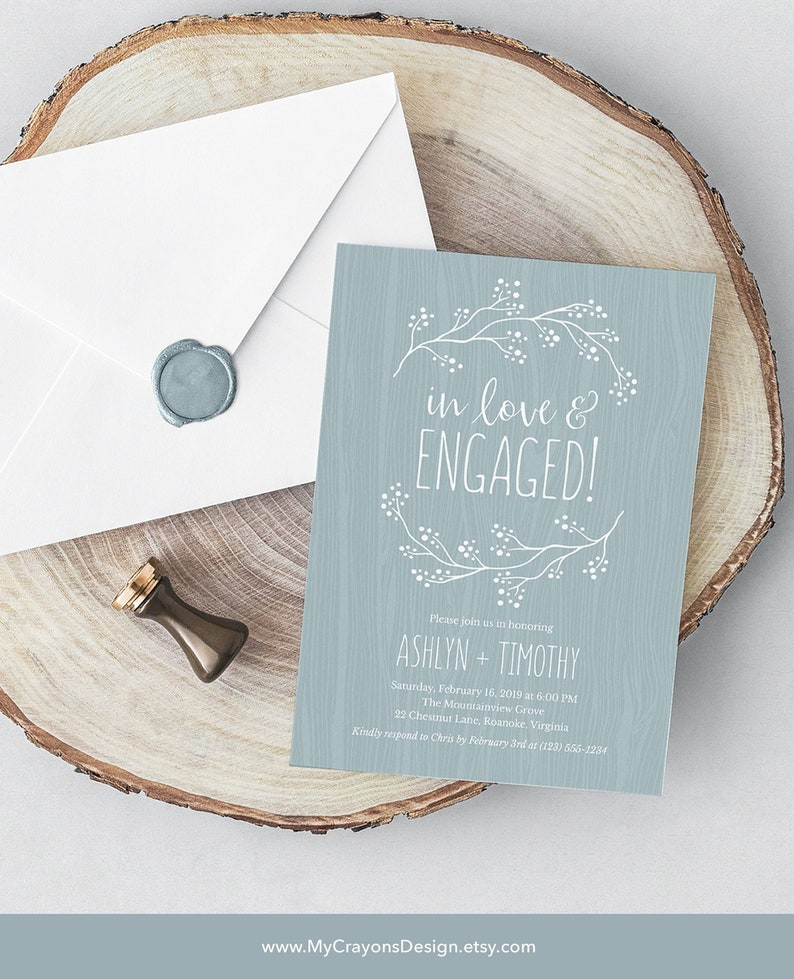 Rustic Engagement Party Invitation Template Engagement image 0