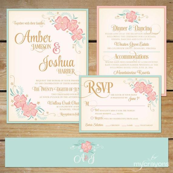 Mint Invitations Wedding: Items Similar To Printable Floral Wedding Invitation Suite