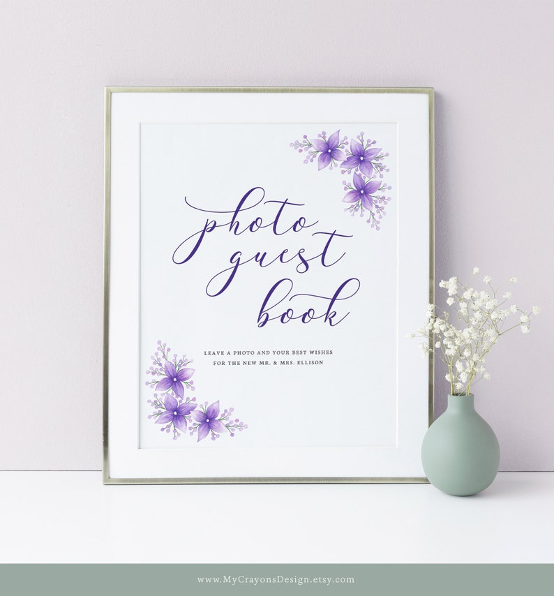 Photo Guest Book Sign Template Wedding Guestbook Sign Floral image 0