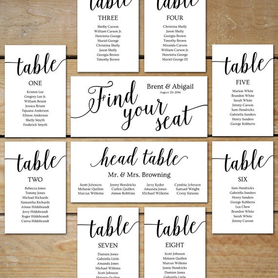 Printable Seating Chart Wedding Seating Chart Cards Etsy
