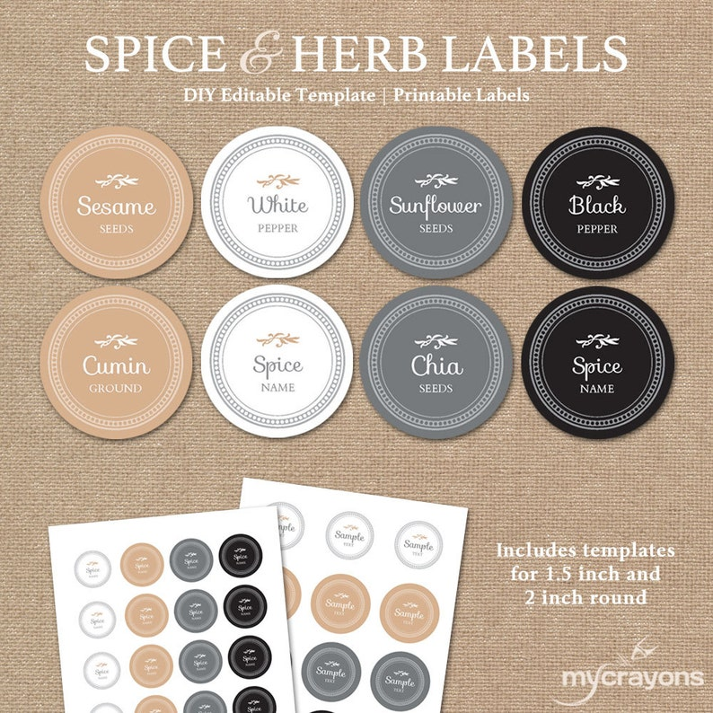 graphic relating to Printable Spice Labels named Editable Spice Labels Printable // Do it yourself Printable Kitchen area Labels // Spherical Spice Herb Labels // 1.5 Inch Spherical Sticker, Impartial Environment Shades