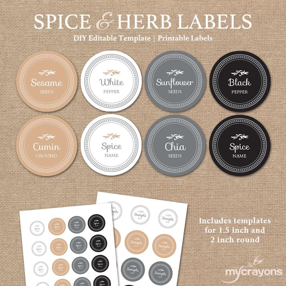 Editable Spice Labels Printable // DIY Printable Kitchen | Etsy